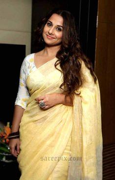 Bollywood actress Vidya balan latest saree photos in silk saree, linen saree, fancy saree and designer saree. Vidya balan in grape wine color saree on Udaa