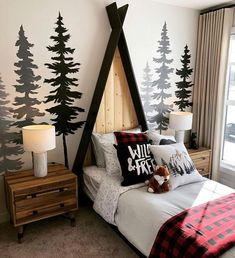 Kids Bedroom, Bedroom Decor, Bedroom Ideas, Woodland Bedroom, Woodsy Bedroom, Winter Bedroom, Woodsy Nursery, Baby Boy Rooms, Baby Room