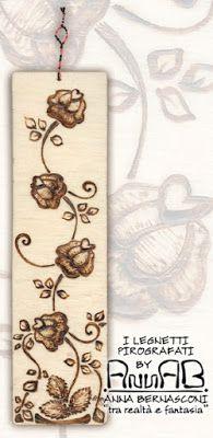 Pirografia su legno, segnalibro o decorazione / Anna Bernasconi Art / FILI DI PASSATO, FILI DI FUTURO / ispirazione floreale