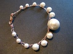 Floating  Pearl Bracelet with Rose Gold Wire by RobynsHookDesigns, $15.00