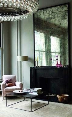 Black mantel fireplace