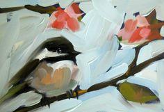 chickadee and blossoms