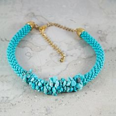 Unique handmade (crocheted) real turquoise gemstone and seed bead statement necklace.  Adjustable length: 37-57cm - £35