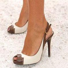 Shoespie Slingbacks Color Block Peep Toe Heel Sandals