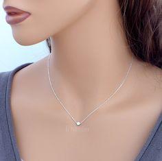 $23 Tiny dot necklace dainty charm pendant sterling silver by B9studio