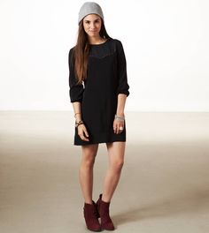 AE Studded Shift Dress - with tights & boots