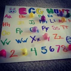 Easter egg hunt board, every egg has a letter or number to match up with the poster, she had a blast