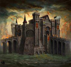 Order Fortress - Warhammer Online: Age of Reckoning Concept Art Fantasy City, Fantasy Castle, Fantasy Places, Fantasy Rpg, Medieval Fantasy, Fantasy World, Dark Fantasy, Warhammer Online, Buildings Artwork