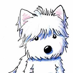 Westie West Highland Terrier Dog ACEO Original Art Illustration. $40.00, via Etsy.