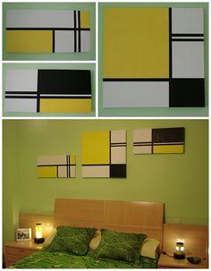 Están inspirados claramente en la obra de Piet Mondrian con los colores adaptados a la habitación.  Materiales:  - Lienzos  - Escuadra y cartabón  - Lápiz  - Pintura al óleo  - Pincel o brocha  - Cinta de carrocero  1. Con la escuadra y el cartabón marcamos las líneas del dibujo.  2. Ponemos cinta de carrocero por las líneas que hemos marcado, para que al pintar nos quede una línea muy bien definida.  3. Pintamos con un pincel y pintura al óleo.  4. Retiramos cinta de carrocero y dejamos… Diy Wall Painting, Tape Painting, Diy Wall Art, Wood Wall Art, Diy Art, Abstract Geometric Art, Abstract Canvas, Cuadros Diy, Art Sur Toile
