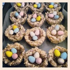 Rice krispie treat nests I made for easter. Easy to make and so cute (0:3