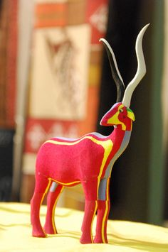 African antelope made out of recycled rubber flip-flops (R70). Available from the Rosebank Rooftop Market. Photo by Paula Gruben.