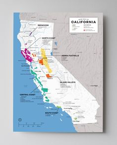 California–The sunshine state of wine. Taking in all regions at once will help quickly make sense of the bigger picture perspective on wine in California. See where Napa and Sonoma sit in terms of all