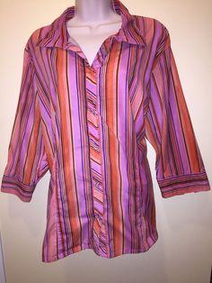 Pink Cotton Top Blouse TunIc Plus Size 2X  Stripe Multi Color 3/4 Sleeve  EUC…