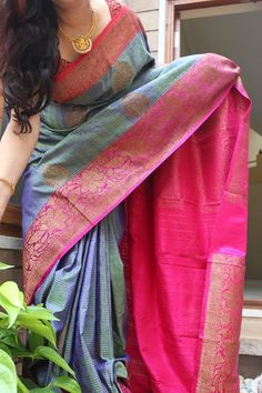 A rich Blue and pink coloured banaras Dupion silk saree with zari buttas over the body and double side rich zari border. Comes with an attached blouse. Ethnic Sarees, Indian Sarees, Indian Attire, Indian Wear, Indian Dresses, Indian Outfits, Indian Clothes, Ethnic Fashion, Indian Fashion