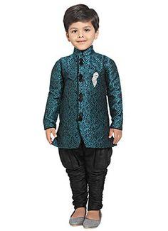 Teal N Black Breeches Style Kids Sherwani Kids Dress Wear, Kids Wear, Baby Boy Ethnic Wear, Cheap Kids Clothes Online, Kids Clothing, Boys Party Wear, Boys New Fashion, Kids Kurta, Sherwani