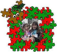 Puzzle Piece Picture Frame - take picture of kids with Santa hat, antlers, lights, etc.