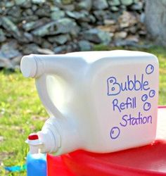 Bubble solution :  12 cups of water  1 cup of dish soap  1 cup of cornstarch  2 Tbsp baking powder  ....now go out and make some bubble...