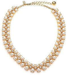 Kate Spade Twinkling Fete Crystal & Faux Pearl Collar Necklace on shopstyle.com