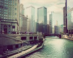 Chicago photograph fine art travel photography Midwest Illinois picture river architecture urban vintage soft colors dreamy windy city teal via Etsy.