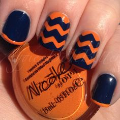 Denver Broncos inspired nails by Aggies Do It Better