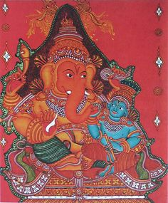 Baby Krishna Sitting on the Lap of Lord Ganesha (Reprint on Paper - Unframed)