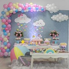Photos and Videos Photos and Videos Baby Girl Birthday Decorations, Baby Girl Birthday Theme, Unicorn Themed Birthday, Rainbow Birthday, Cloud Baby Shower Theme, Baby Girl Shower Themes, Baby Boy Shower, Party Decoration, First Birthdays