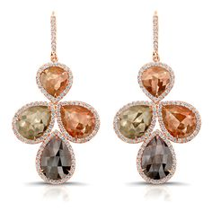 18K Rose Gold Multi Color Drop Earrings #Rahaminov #diamonds #RahaminovDiamonds #earrings #fashion #style