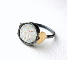 Hey, I found this really awesome Etsy listing at https://www.etsy.com/listing/161707944/snow-white-drusy-sweetheart-ring