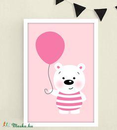 Rózsaszín jegesmedvés keretezett falikép / babaszoba dekoráció 20x30 cm-es méretben (MesesGyerekszoba) - Meska.hu Monitor, Hello Kitty, Baby, Fictional Characters, Frames, Baby Humor, Fantasy Characters, Infant, Babies