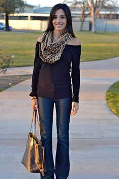Off shoulder blouse with infinity scarf
