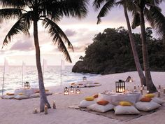 Dining on a sandy beach...