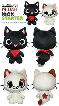 The GaMERCaT Plush by celesse. Cute Crafts, Yarn Crafts, Diy Crafts, Cute Sewing Projects, Sewing Crafts, Sewing Diy, Softies, Plushies, Gamer Cat