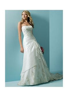 Taffeta Strapless A-Line Skirt in Lace up Closure Chapel Train  Wedding Dress  Wedding Dress