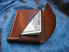 Slim Cash and Card Holder Wallet - Hand Stitched - Oil Tanned Leather - Finished Edges. $45.00, via Etsy. MXS