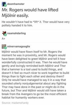 can Mr. Rogers just meet all of the Avengers please and thank you