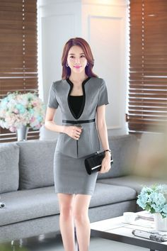 Female skirt suits career OL blazer and skirt women suits office coat Jackets plus size uniform sets 2016 Korean summer fashion Blazers For Women, Suits For Women, Clothes For Women, Sexy Women, Office Dresses, Office Outfits, Office Uniform, Office Skirt, Suit Fashion