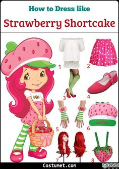 Strawberry Shortcake costume is a white puffed sleeve top, a pink polka-dotted skirt, pink Mary Janes, green and white-striped tights, and a cute strawberry hat. Strawberry Shortcake Skewers, Strawberry Shortcake Cheesecake, Strawberry Shortcake Cartoon, Cute Strawberry, Strawberry Shortcake Halloween Costume, Cold Cake, Costumes For Teens, Group Costumes, Cartoon Outfits