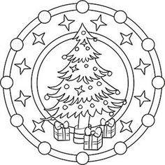 Mandala coloring for Christmas - Coloring Pages Christmas Tree With Gifts, Christmas Colors, Kids Christmas, Christmas Crafts, Christmas Decorations, Xmas, Christmas Ornaments, Mandala Coloring Pages, Colouring Pages