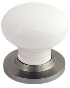 Chatsworth White Porcelain Mortice Door Knobs, Satin Chrome Backplate - BUL602-SCBUL33-WHI None