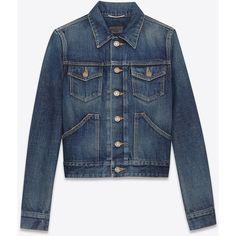 Saint Laurent Original Western Jean Jacket In Dirty Dark Blue Denim ($1,190) ❤ liked on Polyvore
