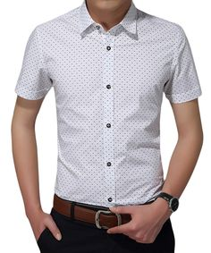 104637d7f071 Men s Casual Slim Fit Polka Dot Short Sleeve Button Down Dress Shirts -  White - C512K8KEBKD