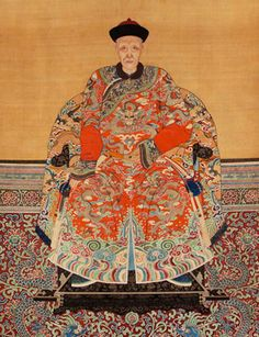 Chinese Ancestor Portrait, Color Inks on Silk, 19th century
