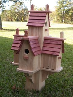 """Birdhouse """"condo"""" made of cypress and cedar. Fits on 4X4 post."""