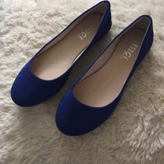 Cobolt blue faux suede flats Brand new , never worn! Didn't come with a box . Shoes Flats & Loafers