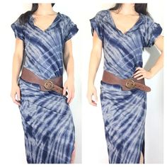 BLUE SHORT SLEEVE TIE DYE MAXI SIDE SLIT DRESS S Gently worn only a few times. Long maxi dress with a tie dye print. The dress is full length, has short cuffed sleeves and a sexy side slit. Perfect to wear over a bikini to the beach. Dress it up or down. The belt is not included but I do have it for sale in my closet, come take a look. Freeloader Dresses Maxi