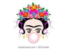 Illustration about Emoji baby Frida Kahlo to cray with crown and of colorful flowers, baby girl cries, vector isolated . Illustration of cartoon, beautiful, card - 107639127 Cute Cartoon Girl, Baby Cartoon, Frida Kahlo Cartoon, Free Emoji, Frida Art, Girls Crown, Pink Bubbles, Photography Illustration, Royalty Free Photos