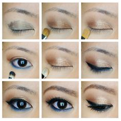 Stila Cobalt blue eyeliner and bronze eye makeup to add a pop of color Bronze Eye Makeup, Asian Eye Makeup, Eye Makeup Art, Natural Eye Makeup, Blue Eye Makeup, Makeup For Brown Eyes, Makeup Tips, Beauty Makeup, Monolid Makeup