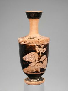 Terracotta lekythos (oil flask) Attributed to the Icarus Painter Period: Classical Date: 2nd quarter of the 5th century B.C. Culture: Greek, Attic Medium: Terracotta; red-figure Winged youth and bird The identity of the winged figure and of the scene as a whole is unclear. The figure is most often called Icarus or Hypnos. The former seems more plausible, given the contorted pose of the figure and the position of the bird that suggests a precipitous descent.