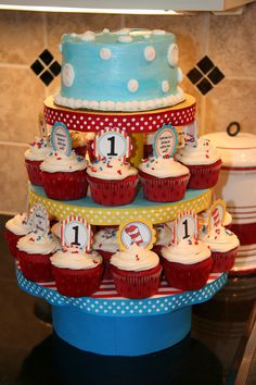This same idea with small cake on top for Kaleb's candles and cupcakes below. I don't want the cake to look like this one though...